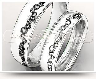 obrázek kresleného návrhu na snubní prsteny