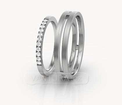 Snubní prsteny s diamanty princess