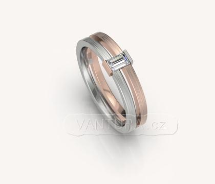 Zásnubní prsten s diamantem bageta