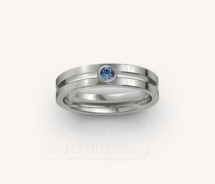 Zásnubní prsten - modrý safír - bílé zlato