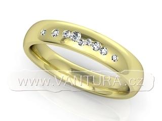dámský snubní prsten 1020 s devíti brilianty